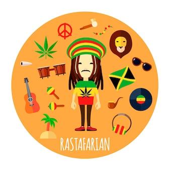 Membro della credenza rastafariana e degli accessori caratteristici dello stile di vita