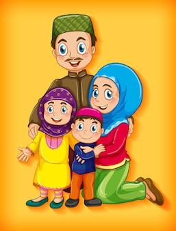 Membro della famiglia musulmana su sfondo sfumato di colore personaggio dei cartoni animati