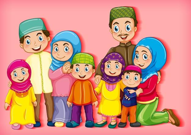 Membro della famiglia musulmana sul personaggio dei cartoni animati