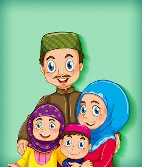 Membro della famiglia musulmano su sfondo sfumato di colore personaggio dei cartoni animati