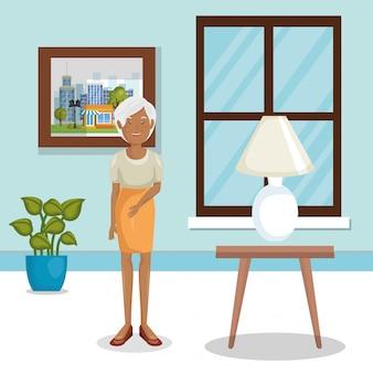 Membro della famiglia nel soggiorno