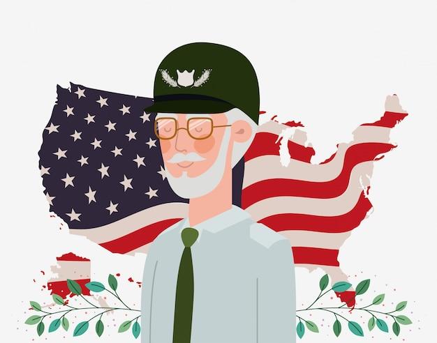 Memorial day card con bandiera veterani e usa nella mappa