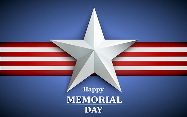 Memorial day con stella su sfondo bandiera nazionale