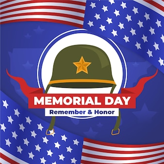 Memorial day design piatto con elmetto da soldato