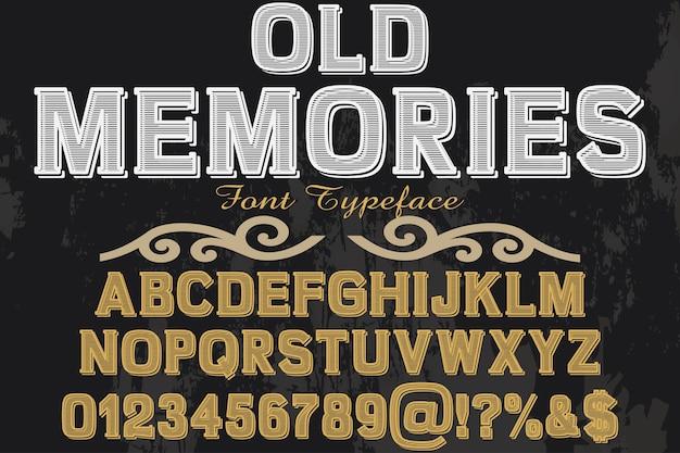 Memorie di progettazione dell'etichetta del carattere di vecchio stile