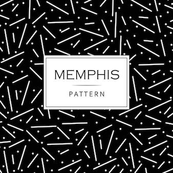 Memphis pattern background in bianco e nero moderno