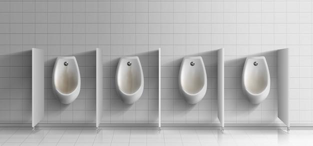 Mens bagno pubblico realistico. fila di orinatoi ceramici sporchi e arrugginiti con bottoni di lavaggio in metallo sulla parete piastrellata bianca