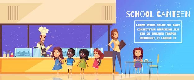 Mensa scolastica in colore blu giallo con lo chef dietro il contro insegnante e il fumetto degli allievi