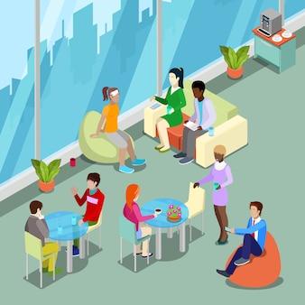Mensa ufficio isometrica interna e area relax con persone.