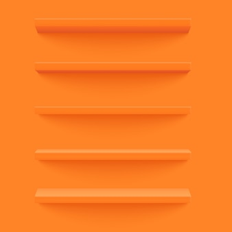 Mensola arancione sul muro giallo.