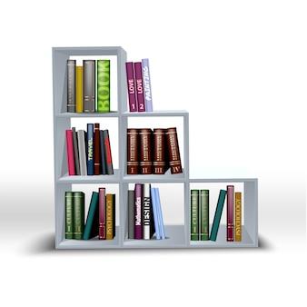 Mensole bianche illustrazioni a colori con libri diversi.