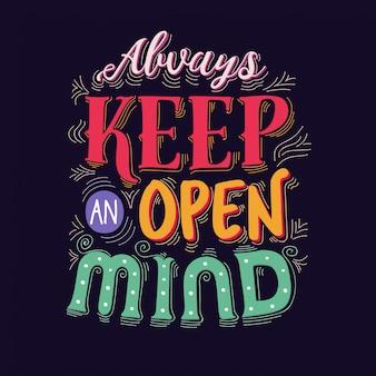 Mente aperta lettering sfondo