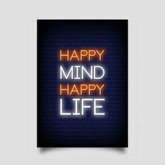 Mente felice stile di vita felice insegna al neon