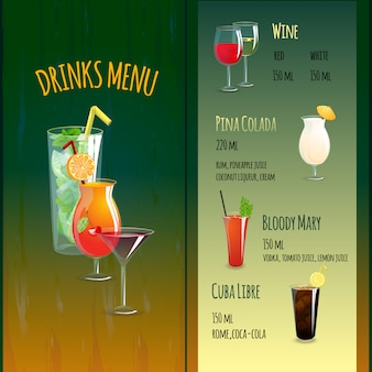 Menu cocktail bar