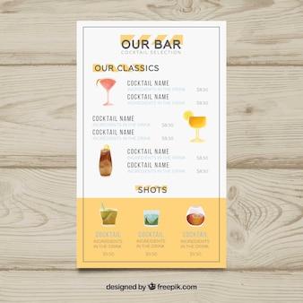 Menù cocktails con lista bar