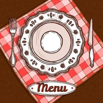 Menu con piatto di porcellana