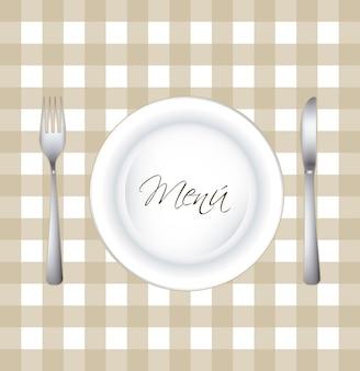Menu con piatto e posate su sfondo quadrato vettoriale