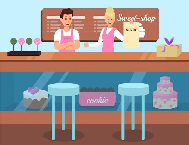 Menu cookies sweet shop advertising flat
