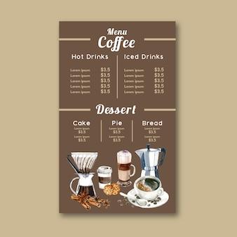 Menu del caffè americano, cappuccino, menu espresso, infografica, illustrazione dell'acquerello
