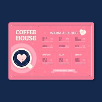 Menu del caffè di san valentino