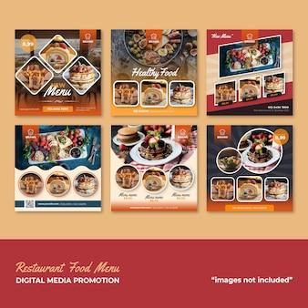 Menu del cibo menu promozione dei social media