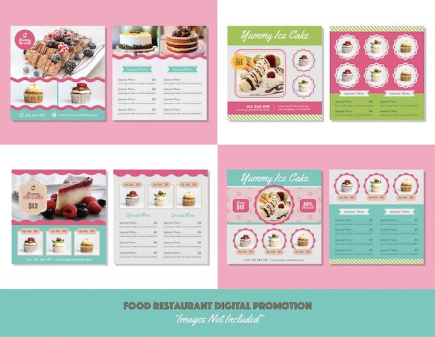 Menu del cibo ristorante promozione digitale