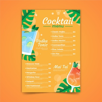 Menu del cocktail