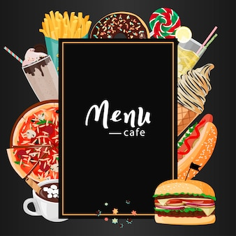 Menu del fast food cafe.