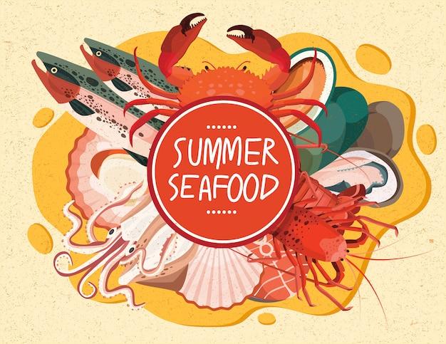 Menu del mare del piatto di color salmone dei crostacei dei crostacei dei granchi di calamaro di estate dei frutti di mare