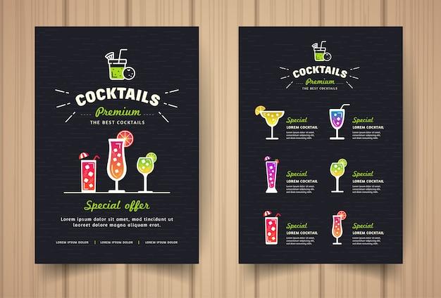 Menu del ristorante cocktail nero in stile moderno.