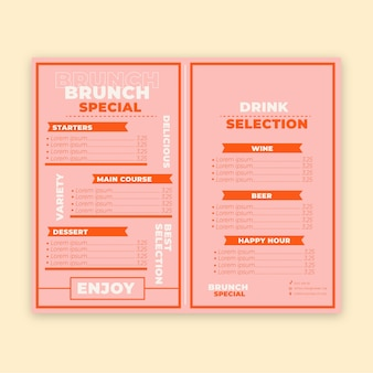 Menu del ristorante colorato con speciale brunch