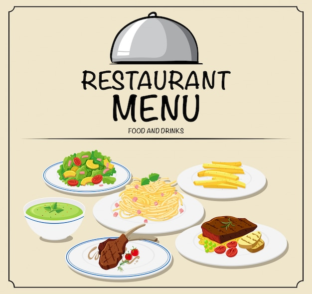 Menu del ristorante con cibo diverso