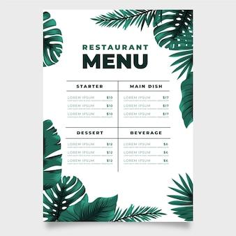Menu del ristorante con foglie esotiche e monstera