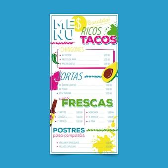 Menu del ristorante con modello di tacos