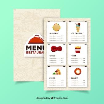 Menu del ristorante con sei sezioni