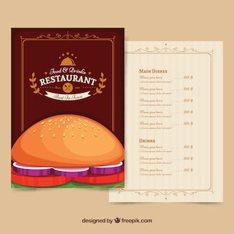 Menu del ristorante con un delizioso hamburger
