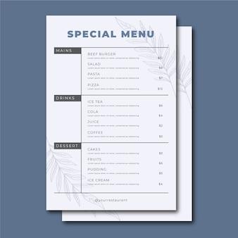 Menu del ristorante dal design vintage