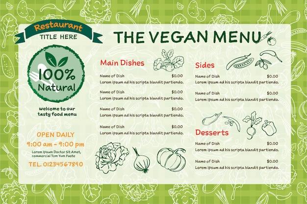Menu del ristorante di alimenti biologici vegani.