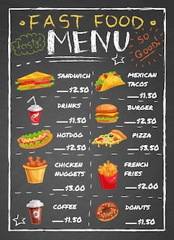Menu del ristorante di fast food sulla lavagna