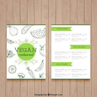 Menu del ristorante di nizza del cibo vegan