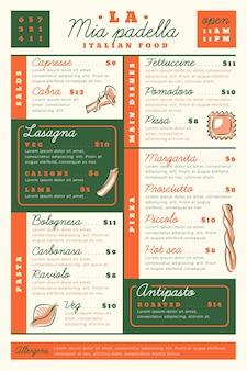 Menu del ristorante digitale con pasti deliziosi