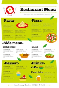 Menu del ristorante digitale illustrato in formato verticale