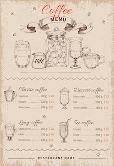Menu del ristorante disegnato a mano del caffè