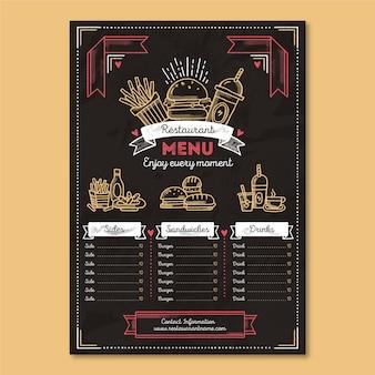 Menu del ristorante fast food biologico