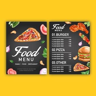 Menu del ristorante fast food. menu del bordo del telaio con l'antipasto
