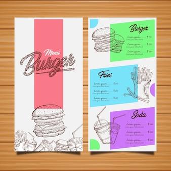 Menu del ristorante hamburger