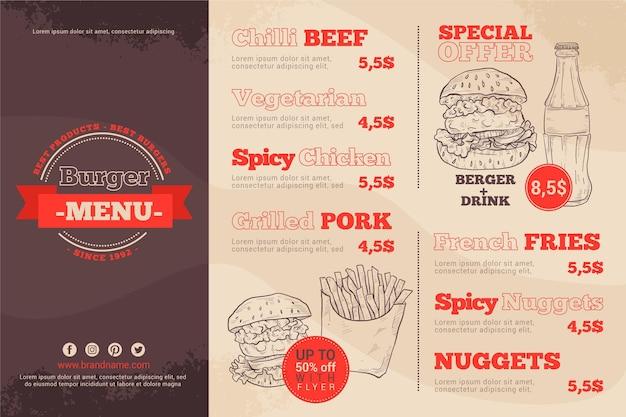 Menu del ristorante in formato orizzontale per piattaforma digitale