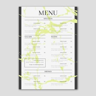Menu del ristorante in stile marmo