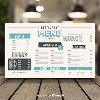 Menu del ristorante in stile vintage