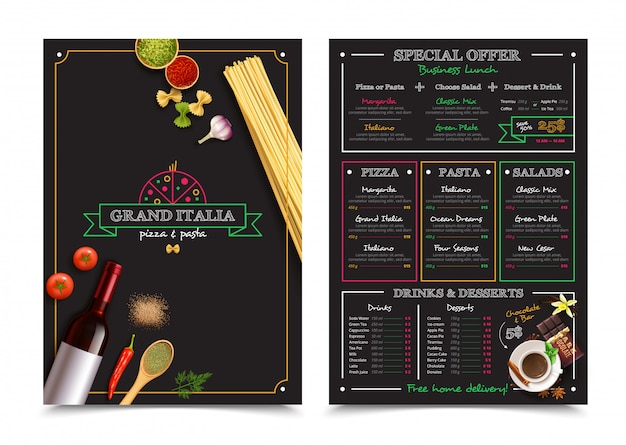 Menu del ristorante italiano con offerta speciale per elementi di design per pranzi di lavoro
